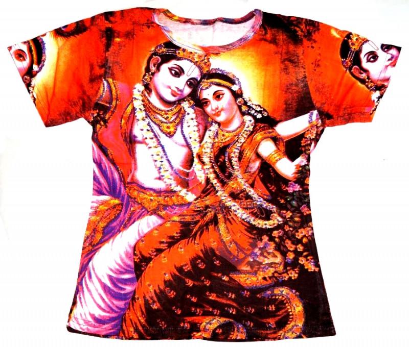 Футболка женская короткий рукав цветная Радха с Кришной
