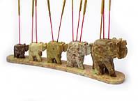 9150026 Подставка под аромапалочки каменная '5 слонов в линию'