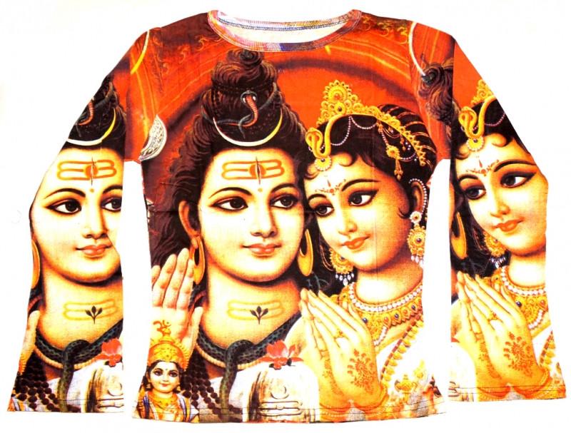 Футболка женская длинный рукав цветная Шива с Парвати