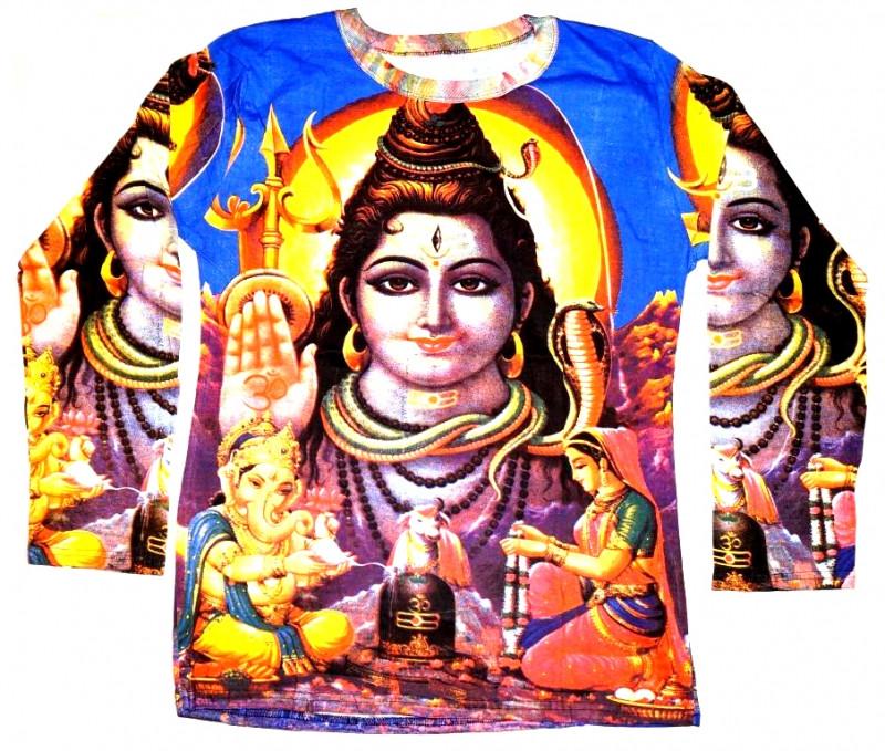 Футболка мужская длинный рукав Шива на синем фоне