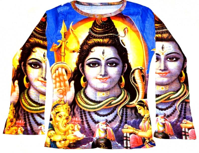 Футболка женская длинный рукав Шива на синем фоне