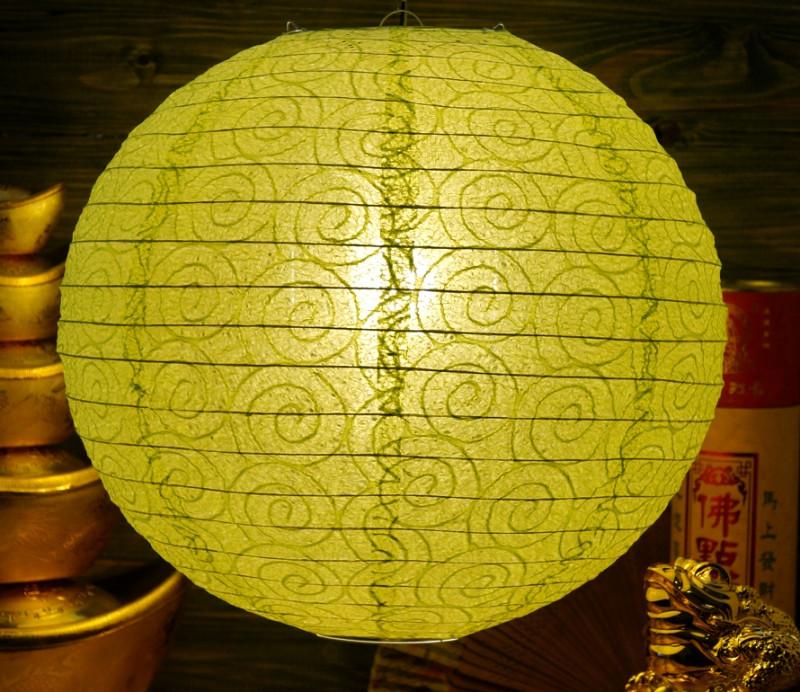 9050003 Фонарь бумажный 'ШАР с дырками Спираль' Салатовый