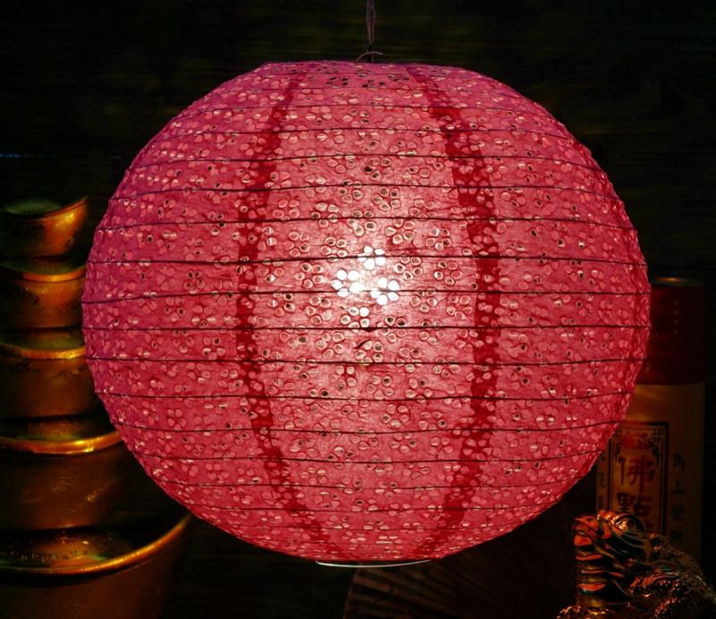 9050004 Фонарь бумажный 'ШАР с дырками Мэй Хуа' Тёмно розовый