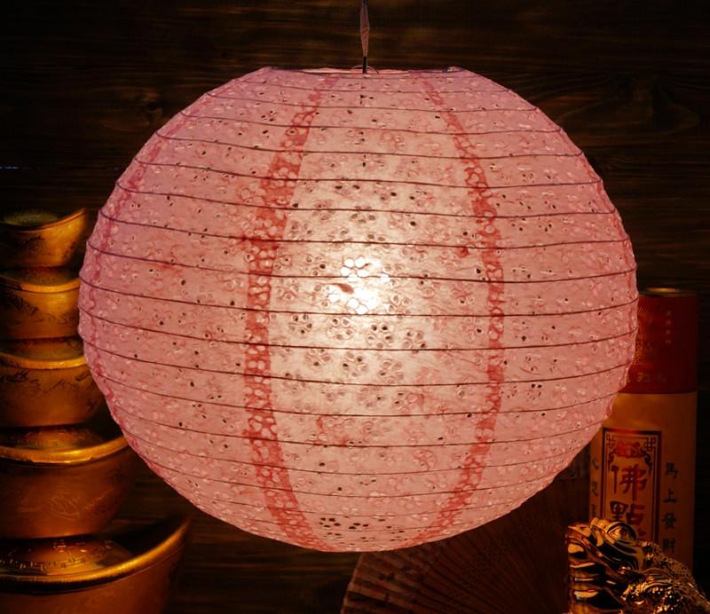9050004 Фонарь бумажный 'ШАР с дырками Мэй Хуа' Светло розовый