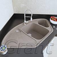 Кухонная угловая мойка с крылом Grant Elite сахара , фото 1
