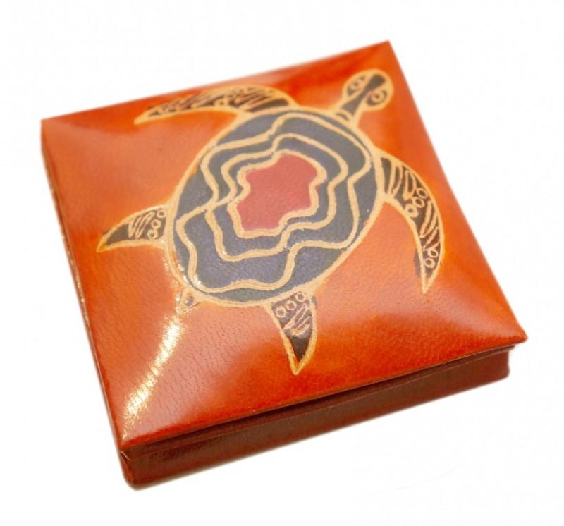 9040002 Кошелёк кожаный на кнопке 'Водяная черепаха' Оранжевый