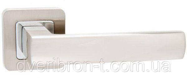 Дверные ручки Safita 215 R40 SN/CP матовый никель/полированный хром