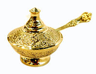9370196 Сахарница с ложкой желтый метал Арт.1033
