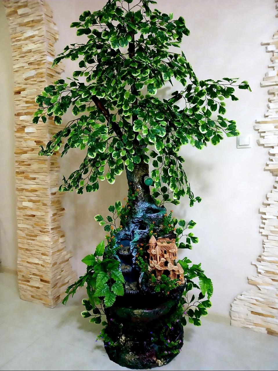 Большой комнатный декоративный фонтан/водопад с подсветкой ручной роботы