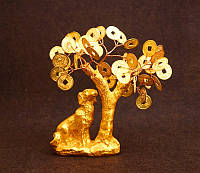 9260349 Собака полистоун под золото + дерево с золотыми монетами