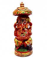 9160121 Ганеш деревянный под зонтиком с росписью С5516-4'