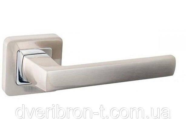 Дверные ручки Safita 533R40 SN/CP матовый никель/хром полированный, фото 2