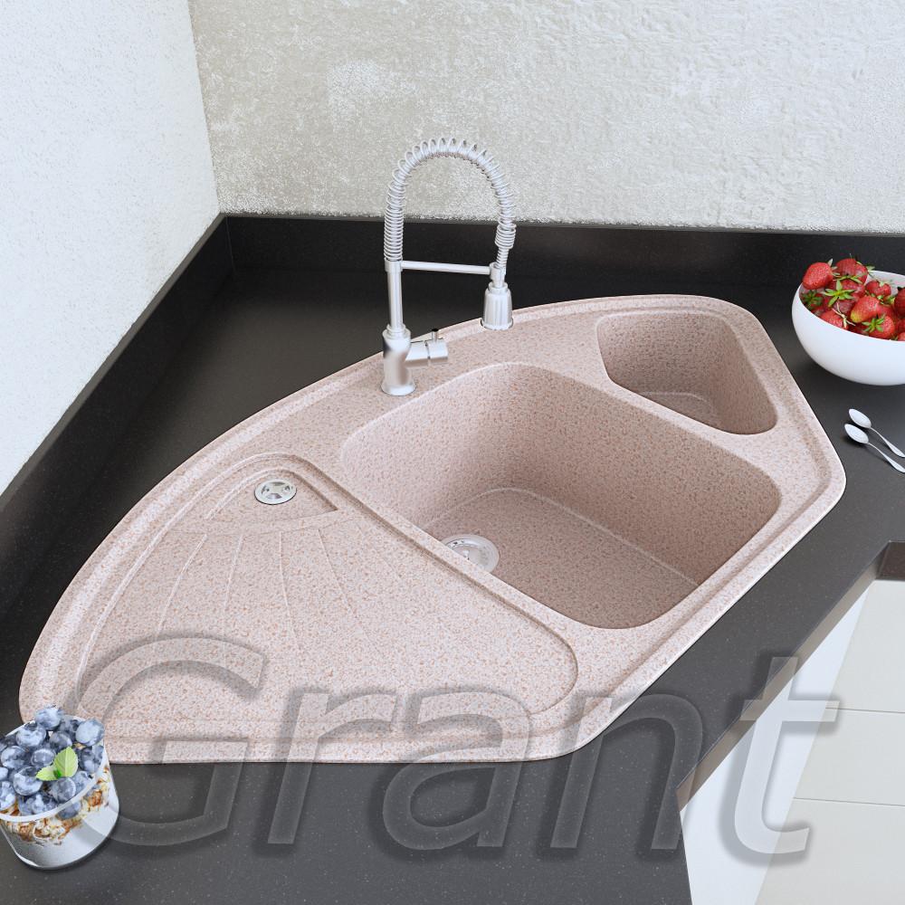 Полуторачашевая мойка в кухню с крылом Grant Elite avena