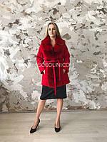 Пальто с мехом песца красного цвета,  44,46 размер, фото 1