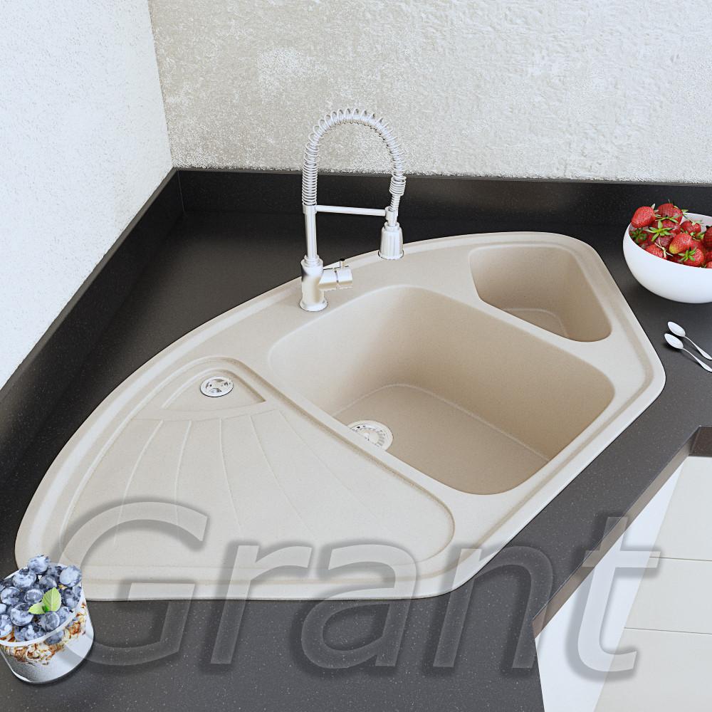 Врезная трапециевидная мойка для кухни Grant Elite ivory