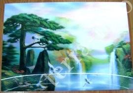 9040083 Постер голографический №4 Много аистов + Сосна + Водопад