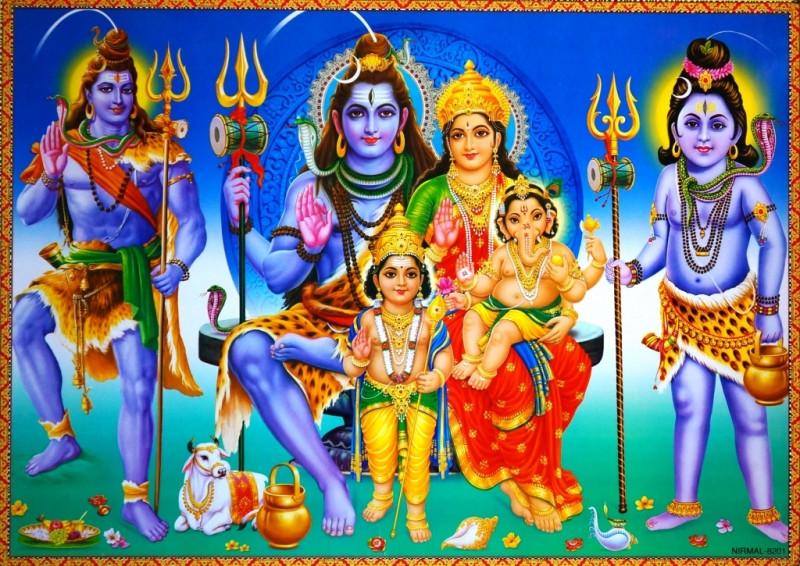9040041 Постер 'Индийские боги' Шива Парвати NIRMAL 8201