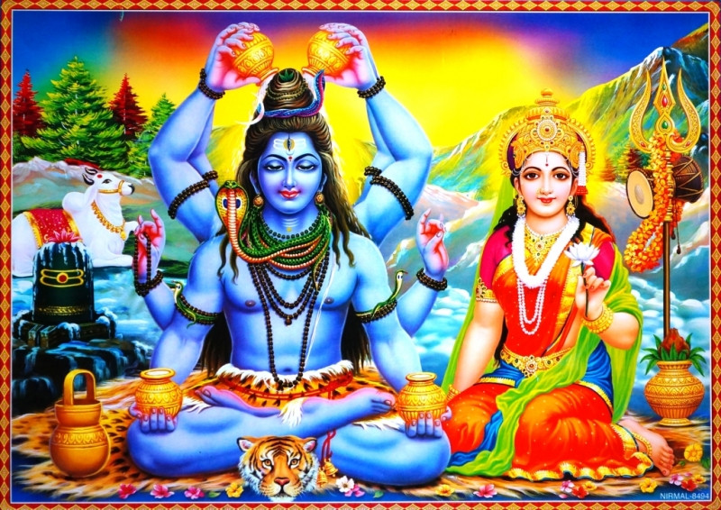 9040041 Постер 'Индийские боги' Шива Парвати NIRMAL 8494