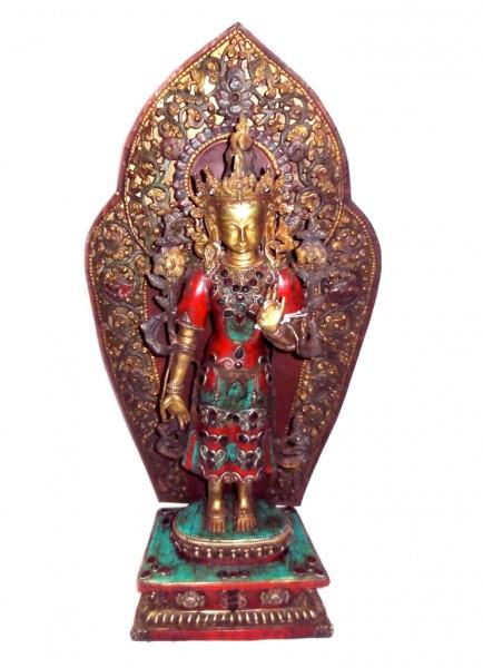 9070049 Статуэтка бронзовая Будда Майтрея стоит с инкрустацией