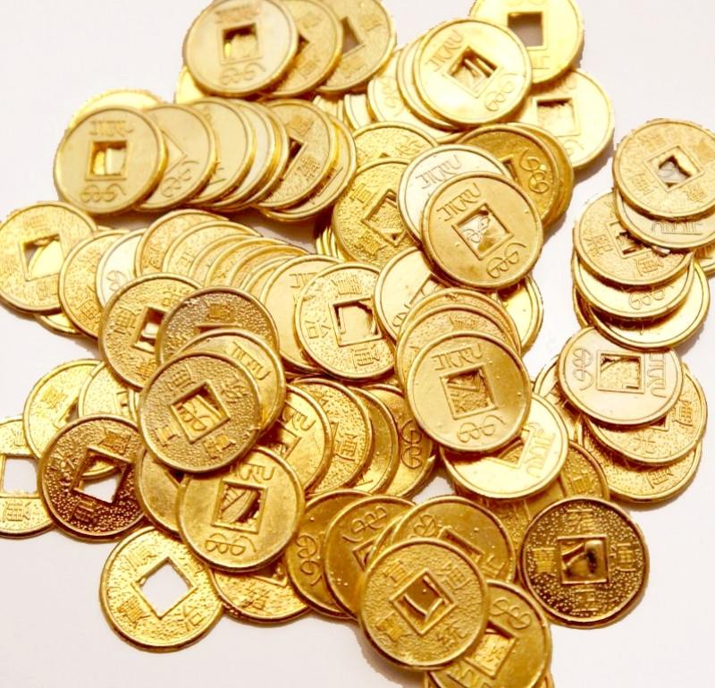 Монета d = 1,4 см. штучно золотой цвет 100 МОНЕТ
