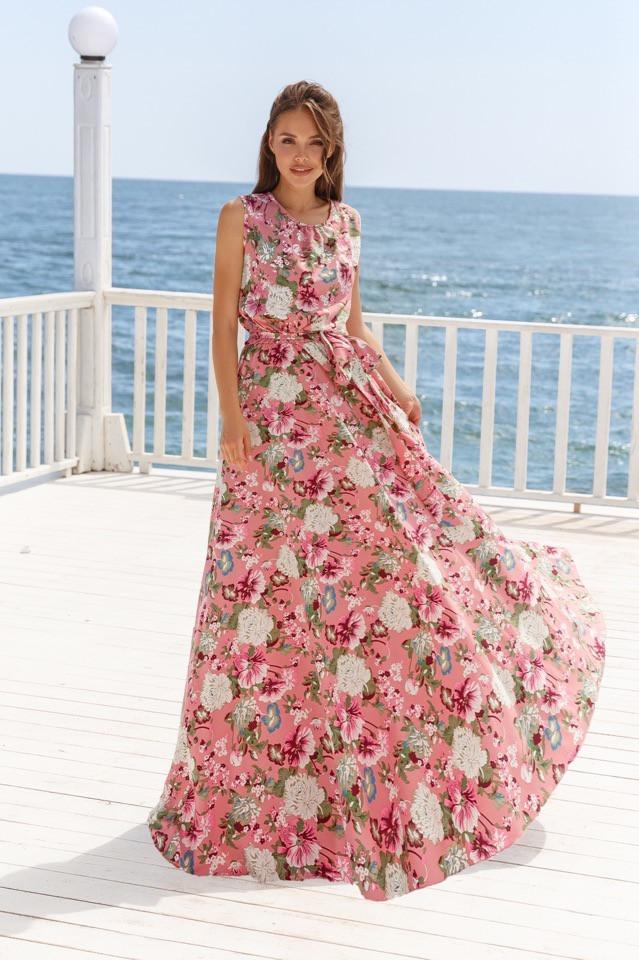 Женское длинное платье Розовый