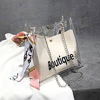 Женская прозрачная сумка мешок Boutique с лентой молочная, фото 1