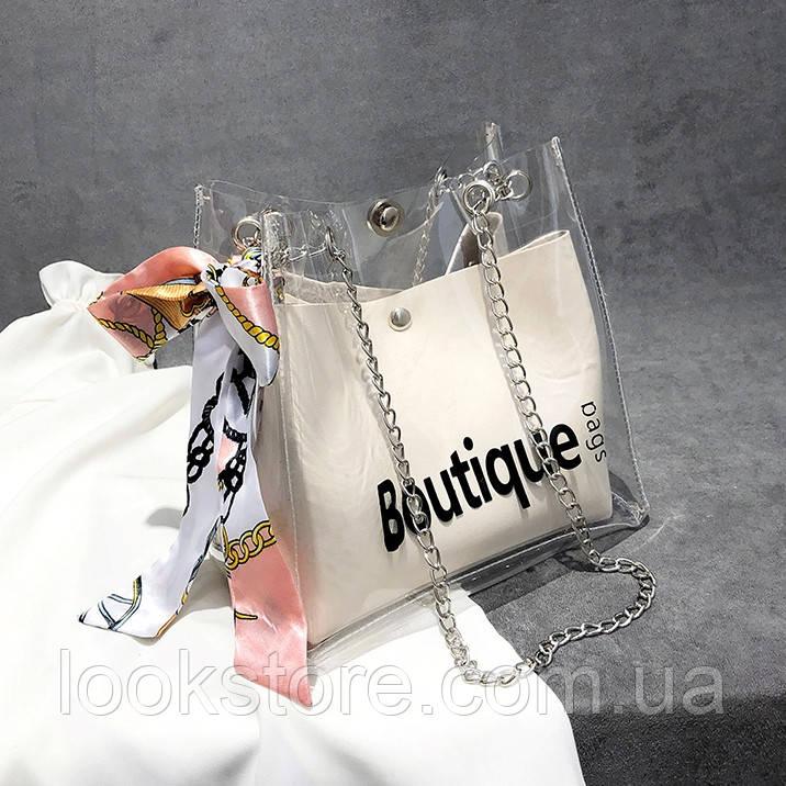 Женская прозрачная сумка мешок Boutique с лентой молочная