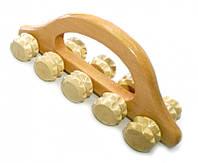 9020027 Массажер деревянный десять роликов с шипами