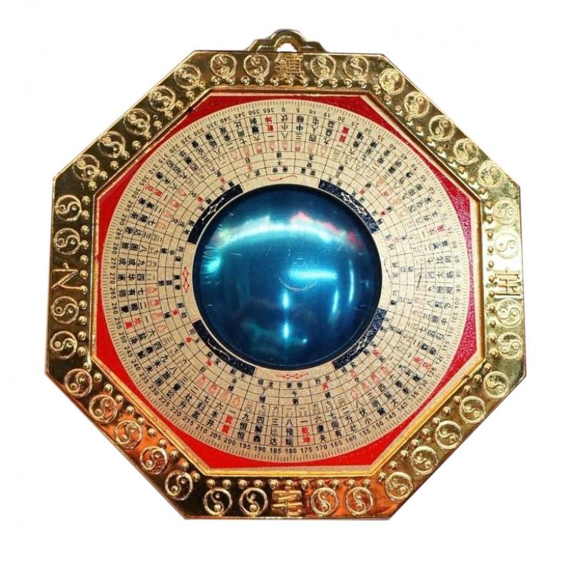 9270028 Зеркало Багуа 'Инь Ян' выпуклое в золотой рамке