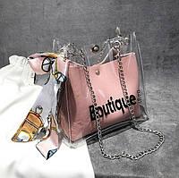 Женская прозрачная сумка мешок Boutique с платком розовая, фото 1
