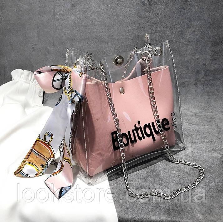 Женская прозрачная сумка мешок Boutique с лентой розовая