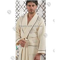 Вафельный мужской халат 52-60 Karna крем