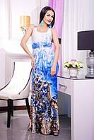 Летний длинный сарафан Ракель синий 42-50 размеры