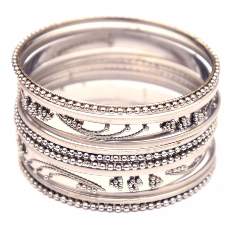 9080323 Комплект из 14 браслетов кольцо белый