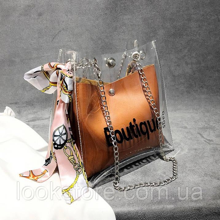 Женская прозрачная сумка мешок Boutique с лентой рыжая