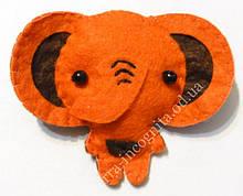9080442 Брошь войлочная Слоник Оранжевый