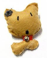 9080442 Брошь войлочная Кошка Бежевая