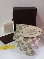 Ремень кожаный женский Louis Vuitton белый , фото 1