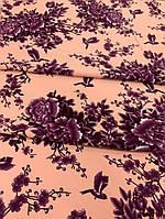 Персиковая креп-костюмка с фиолетовыми цветами, фото 1