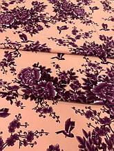 Персиковая креп-костюмка с фиолетовыми цветами