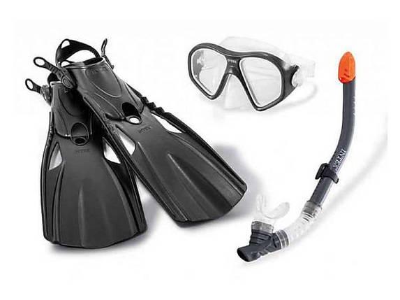 Набор для плавания маска трубка и ласты Intex 55657 от 14 лет размер ласт 41-45 , фото 2