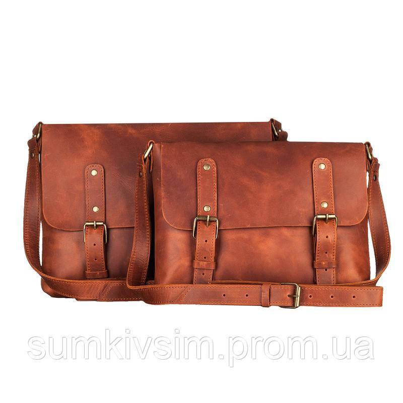 Мужская коричневая кожаная сумка из кожи ручной работы (шкіряна сумка)