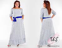 Штапельное батальное летнее длинное платье. 3 цвета!, фото 1
