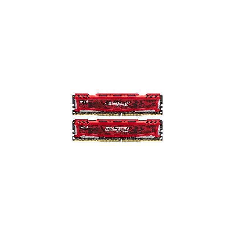 Память Crucial 16 GB (2x8GB) DDR4 2666 MHz Ballistix Sport LT Red (BLS2K8G4D26BFSE)