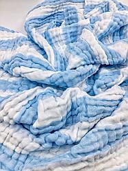 """Простыня , коврик для пляжа муслиновая для детей """"Нежная полоска"""" Голубой"""
