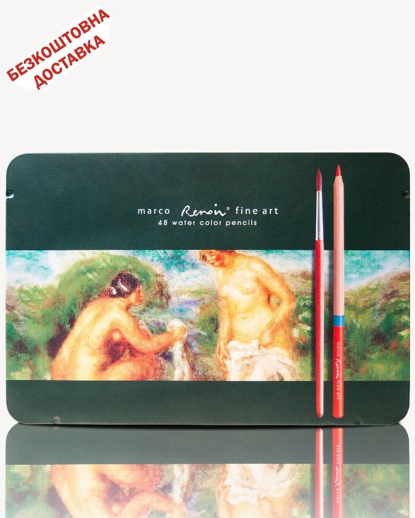 Карандаши цветные акварельные 48 цветов, кедр, Renoir, FineArt, Marco, FineArt-48AQUA-TN, 912007
