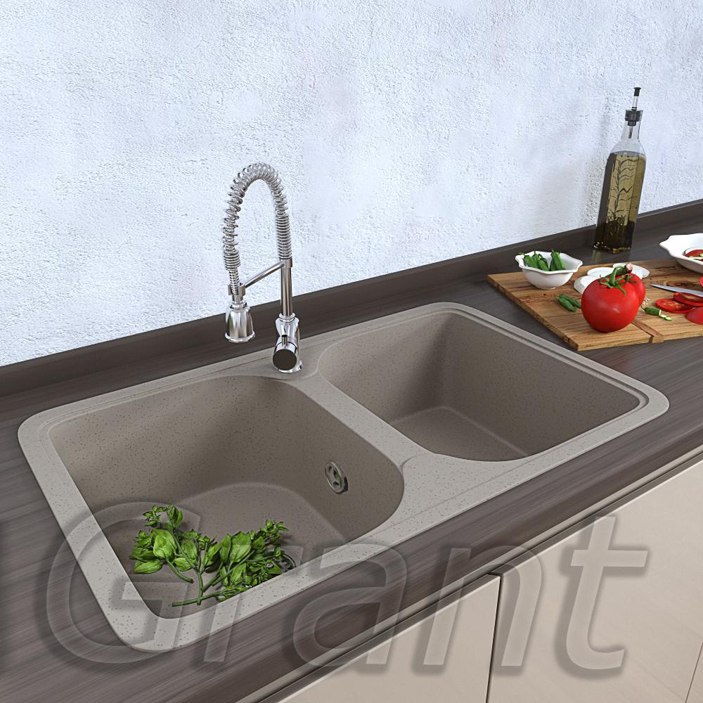 Мойка для кухни на две чаши Grant Quadro цвет - сахара
