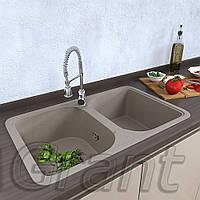 Мойка для кухни на две чаши Grant Quadro цвет - сахара, фото 1