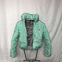 Модная короткая зимняя куртка с капюшоном, мятная, 42- 48