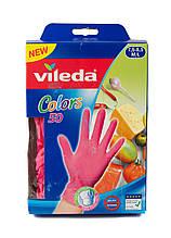 Набор одноразовых перчаток (50шт) Vileda M/L Розовый